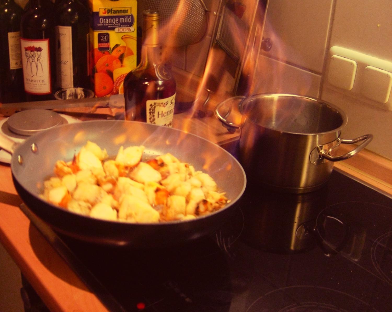 Flambierter Hummer auf Butter Kartoffeln