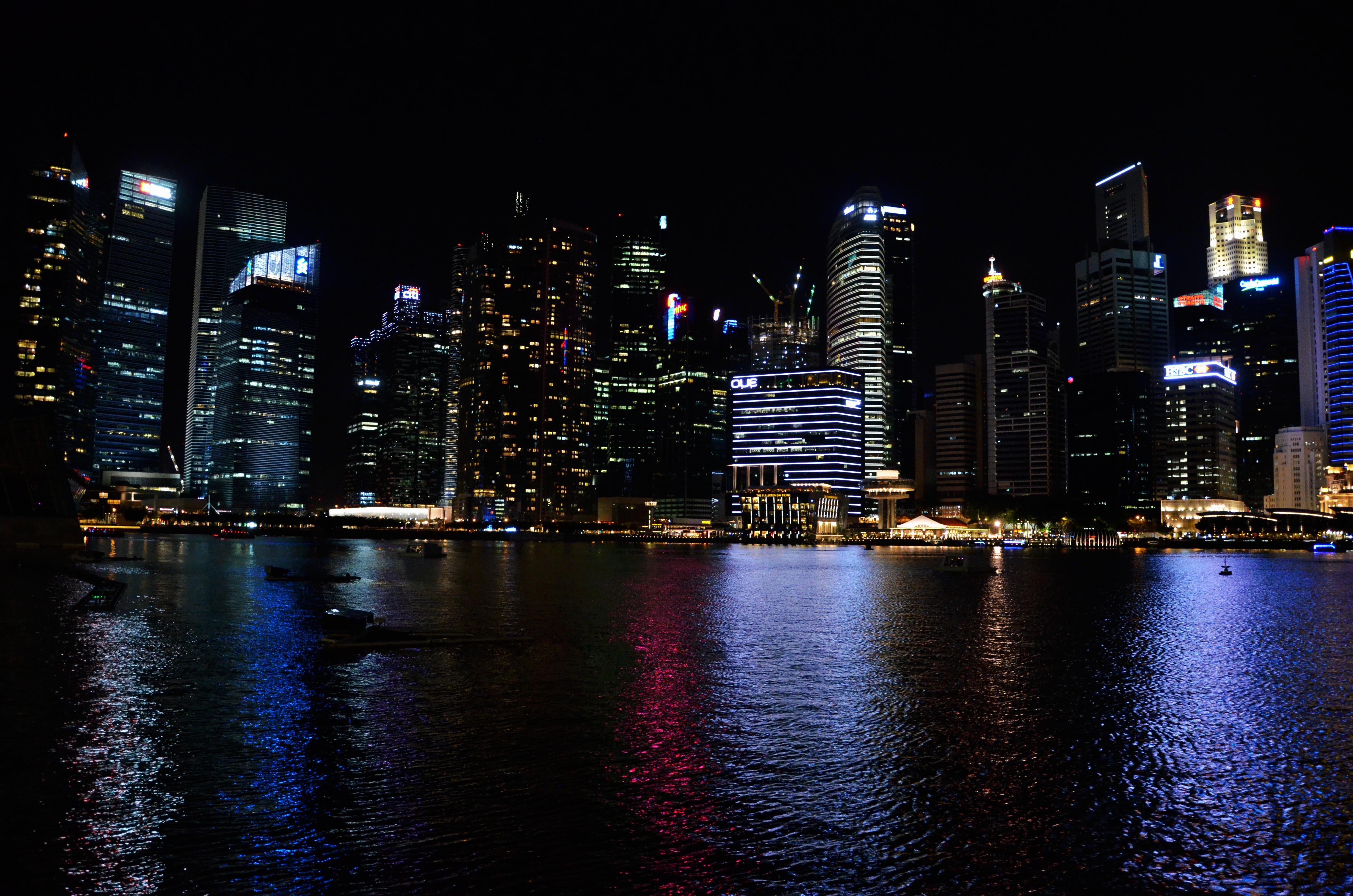 Wunderschönstes Lichtspiel in der Marina Bay