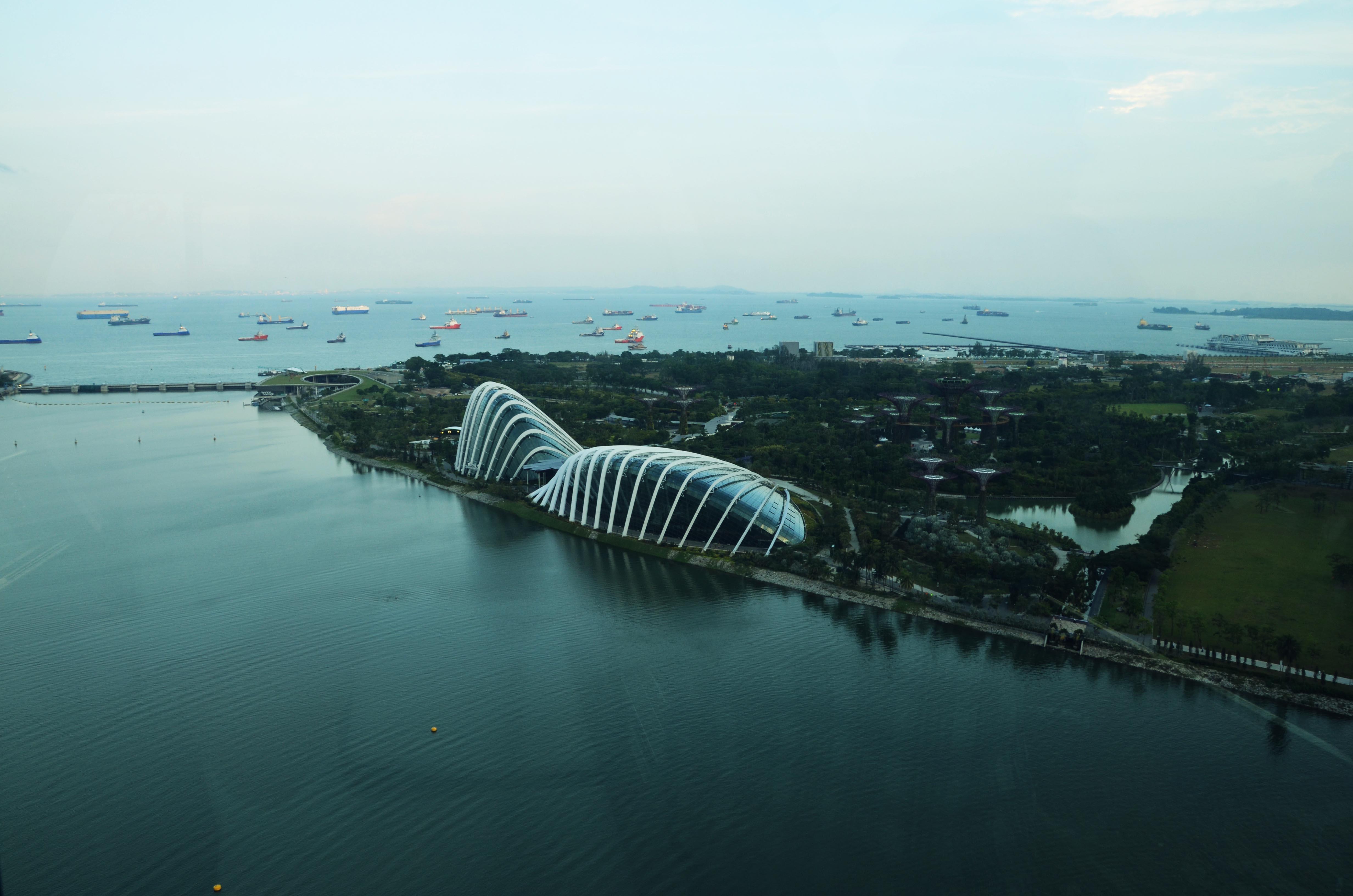 Blick auf die Gardens by the Bay vom Riesenrad Singapore Flyer aus
